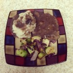 Pork Cube Steak with Mushroom Red Wine Sauce